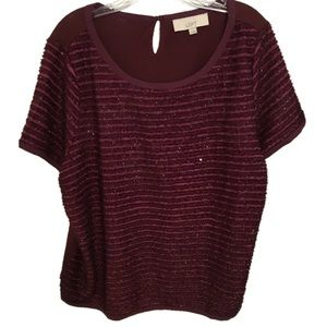 Pretty Ann Taylor LOFT Sparkle Short Sleeve Shirt